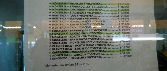Цены на билеты на разные направления в Колумбии