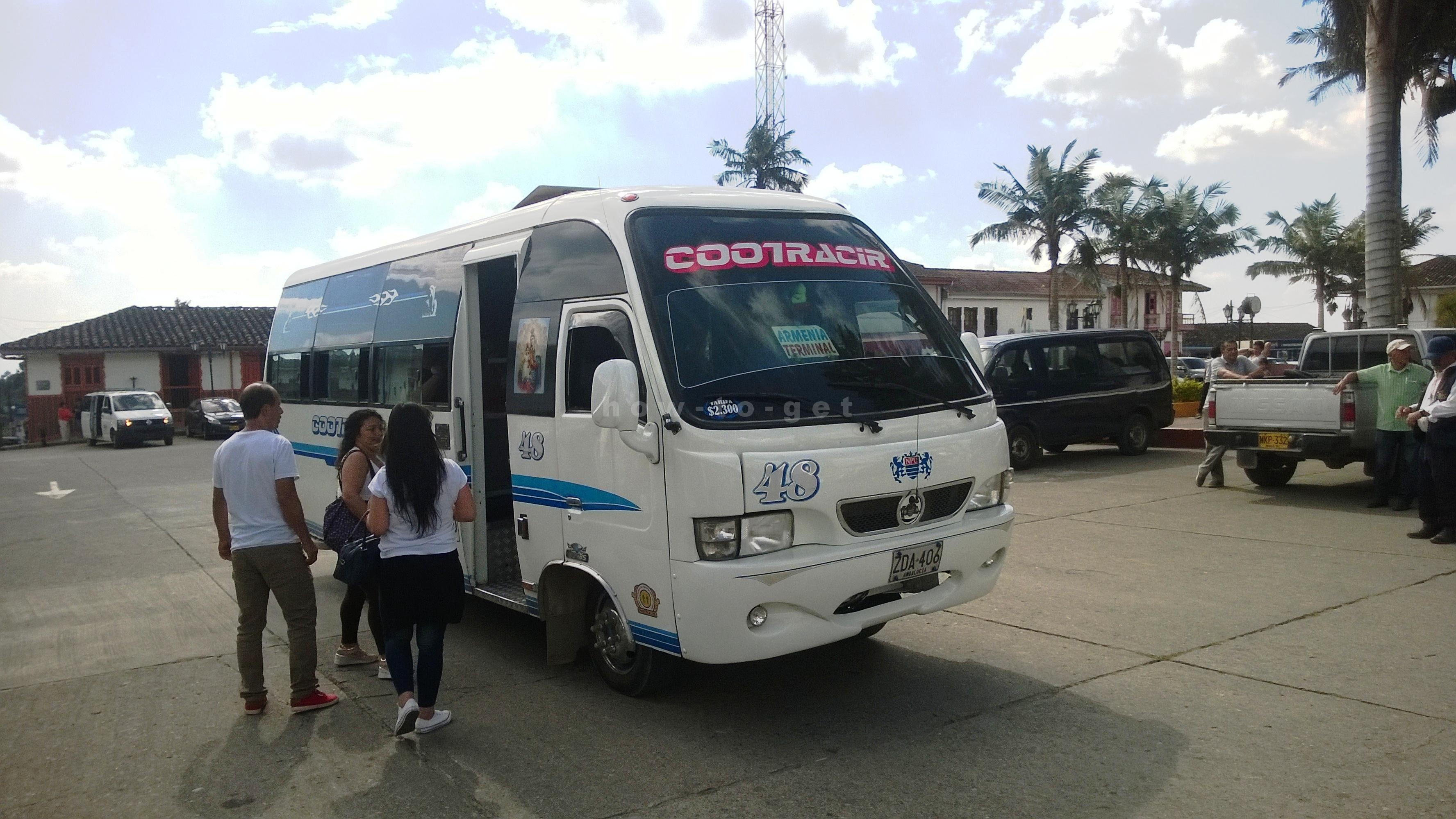 square in Salento, bus to Armenia